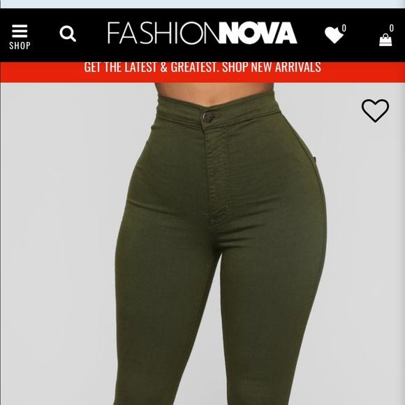 Fashion Nova Denim - Olive green super high waist denim skinnies